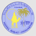 Poster del viaje del vintage, Túnez, Tunisie, Etiquetas Redondas
