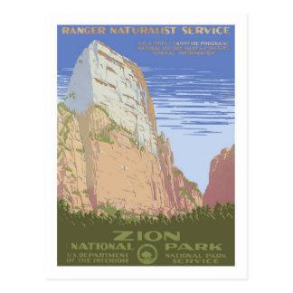 Poster del viaje del vintage, Zion Tarjetas Postales