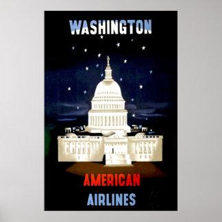 Poster del viaje del Washington DC del vintage Póster