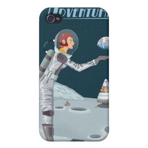 Poster del viaje espacial a la luna iPhone 4/4S carcasas