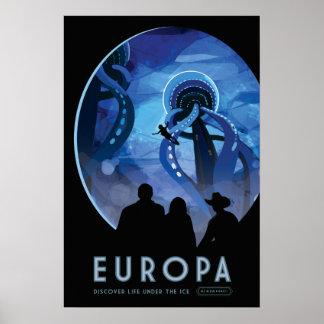 Poster del viaje espacial del Europa Póster