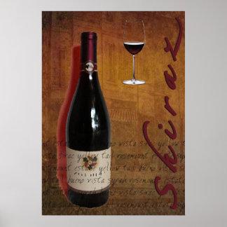 poster del vino de Shiraz