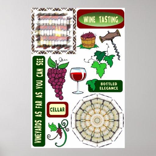 Poster del vino, degustación de vinos