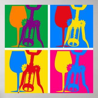 Poster del vino del arte pop