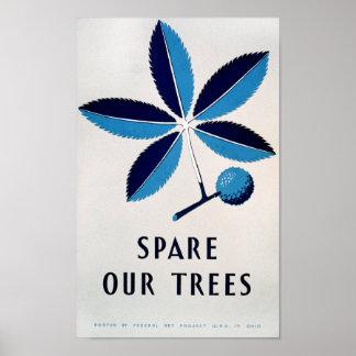 Poster del vintage - ahorre nuestros árboles - POS