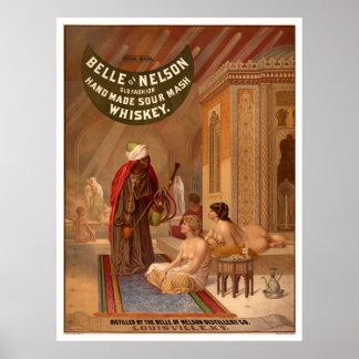 Poster del vintage: Belleza del whisky de Nelson
