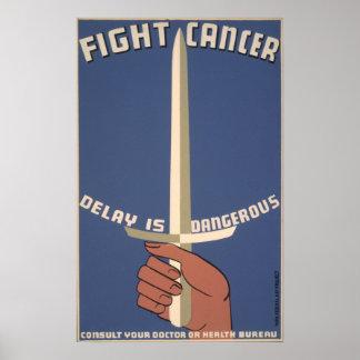 Poster del vintage - cáncer de la lucha - PEQUEÑO