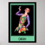 Poster del vintage - chica de la aleta de los años