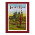 Poster del vintage, ciudad de Londres, gabarra de  Postales
