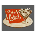 Poster del vintage, cócteles del vidrio de Martini