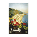 Poster del vintage de Amalfi Italia Italia Impresiones De Lienzo