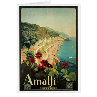 Poster del vintage de Amalfi, Italia Tarjetas