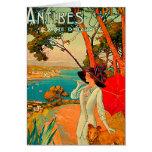 Poster del vintage de Antibes Francia Felicitación