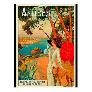 Poster del vintage de Antibes Francia Tarjetas Postales