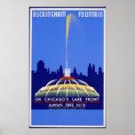 Poster del vintage de Chicago de la fuente de Buck