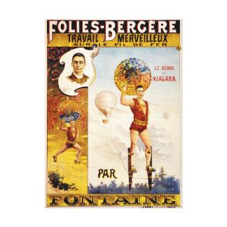 Poster del vintage de Folies Bergere Fontaine Impresión En Lienzo
