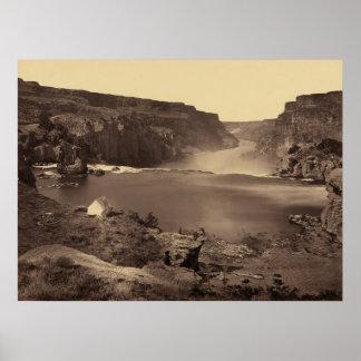 Poster del vintage de Idaho de las caídas del río