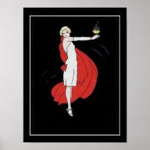 Poster del vintage de la chica marchosa del art dé