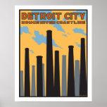 Poster del vintage de la ciudad de Detroit