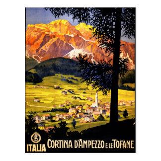 Poster del vintage de la cortina d Ampezzo Italia Tarjeta Postal