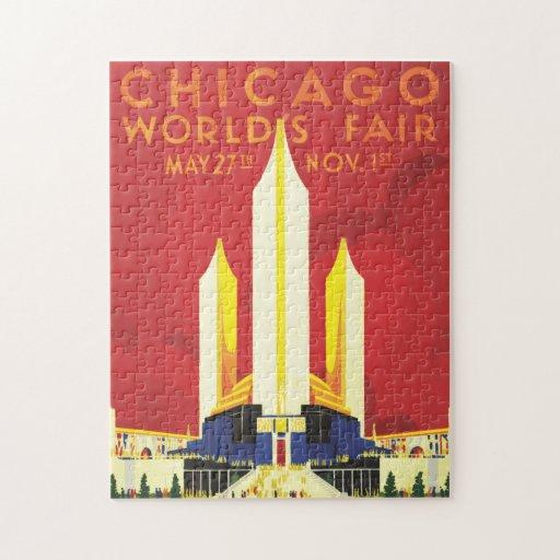 Poster del vintage de la feria de mundos de Chicag Rompecabezas Con Fotos