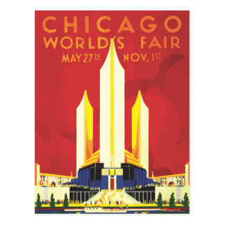 Poster del vintage de la feria de mundos de Chicag Postales