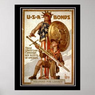 Poster del vintage de la guerra mundial de los enl