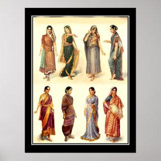 Poster del vintage de la India de la moda