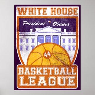 Poster del vintage de la liga de baloncesto de la