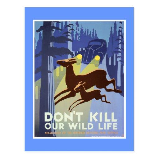 Poster del vintage de la preservación de la fauna postales
