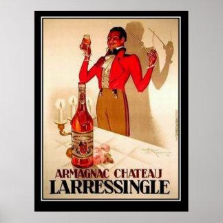 Poster del vintage de la promoción del vino francé póster