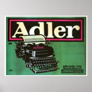 Poster del vintage de las máquinas de escribir de