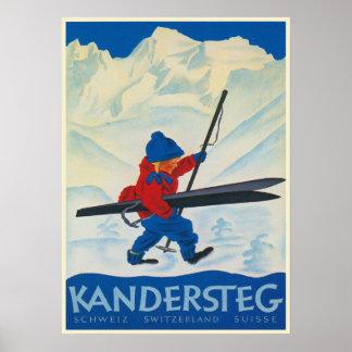 Poster del vintage de las montañas suizas