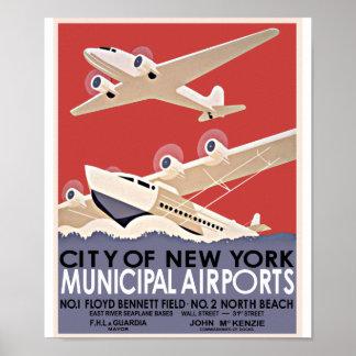 Poster del vintage de los aeropuertos de Nueva Yor