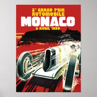 Poster del vintage de los coches de competición de