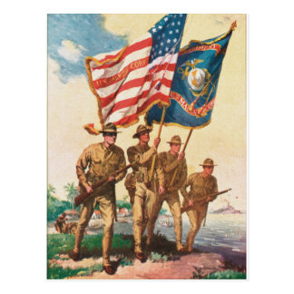 Poster del vintage de los infantes de marina WW 1  Postal
