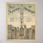 poster del vintage de los rascacielos de