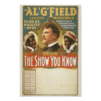 Poster del vintage de los trovadores de G. Field G Arte Fotografico