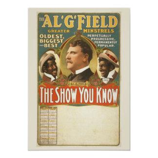 """Poster del vintage de los trovadores de G. Field Invitación 5"""" X 7"""""""