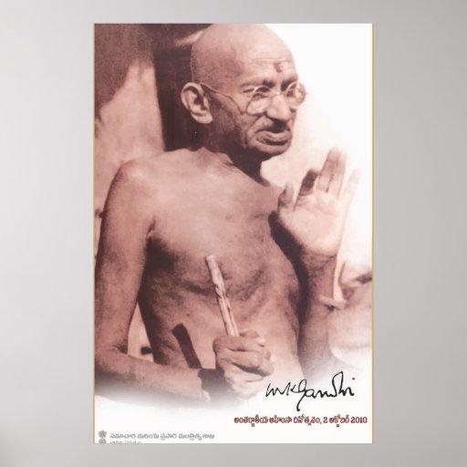 Poster del vintage de Mahatma Gandhi