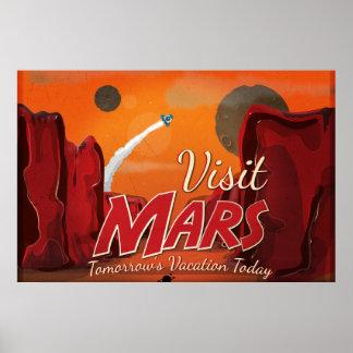 Poster del vintage de Marte de la visita