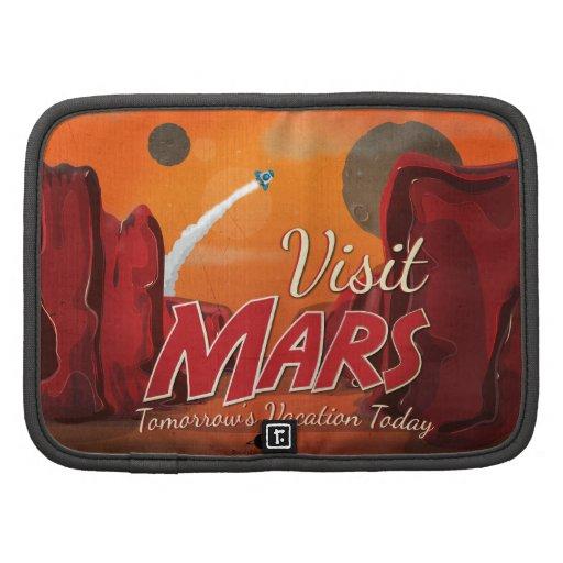 Poster del vintage de Marte de la visita Planificador