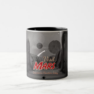 Poster del vintage de Marte de la visita Taza De Dos Tonos