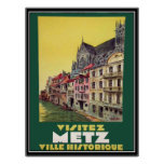 Poster del vintage de Metz Francia