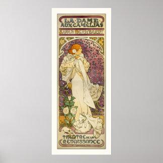 Poster del vintage de Mucha: Dama Camélias aux. de