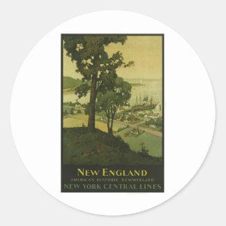 Poster del vintage de Nueva Inglaterra de la Pegatina Redonda