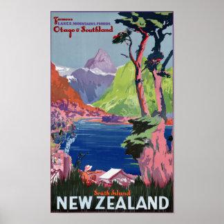 Poster del vintage de Nueva Zelanda de la isla del