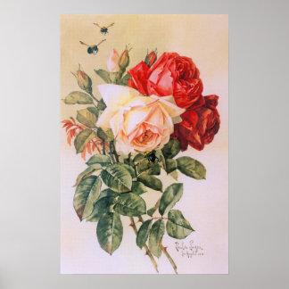 Poster del vintage de tres rosas