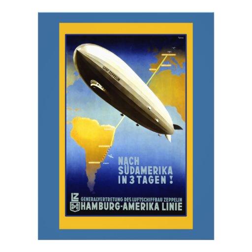 """Poster del vintage de un dirigible folleto 8.5"""" x 11"""""""