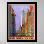 Poster del vintage del art déco de Nueva York de